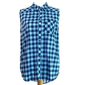 Sleeveless Button Down Blue Plaid Summer Top XL